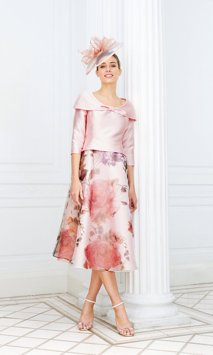 👗 D807 Pink Luis Civit Print Dress With Bardot Neckline Try it in the boutique or shop now at  #motherofthebride #wedding #motherofthegroom #fabfrocks #bride #fashionagentssupportingboutiques