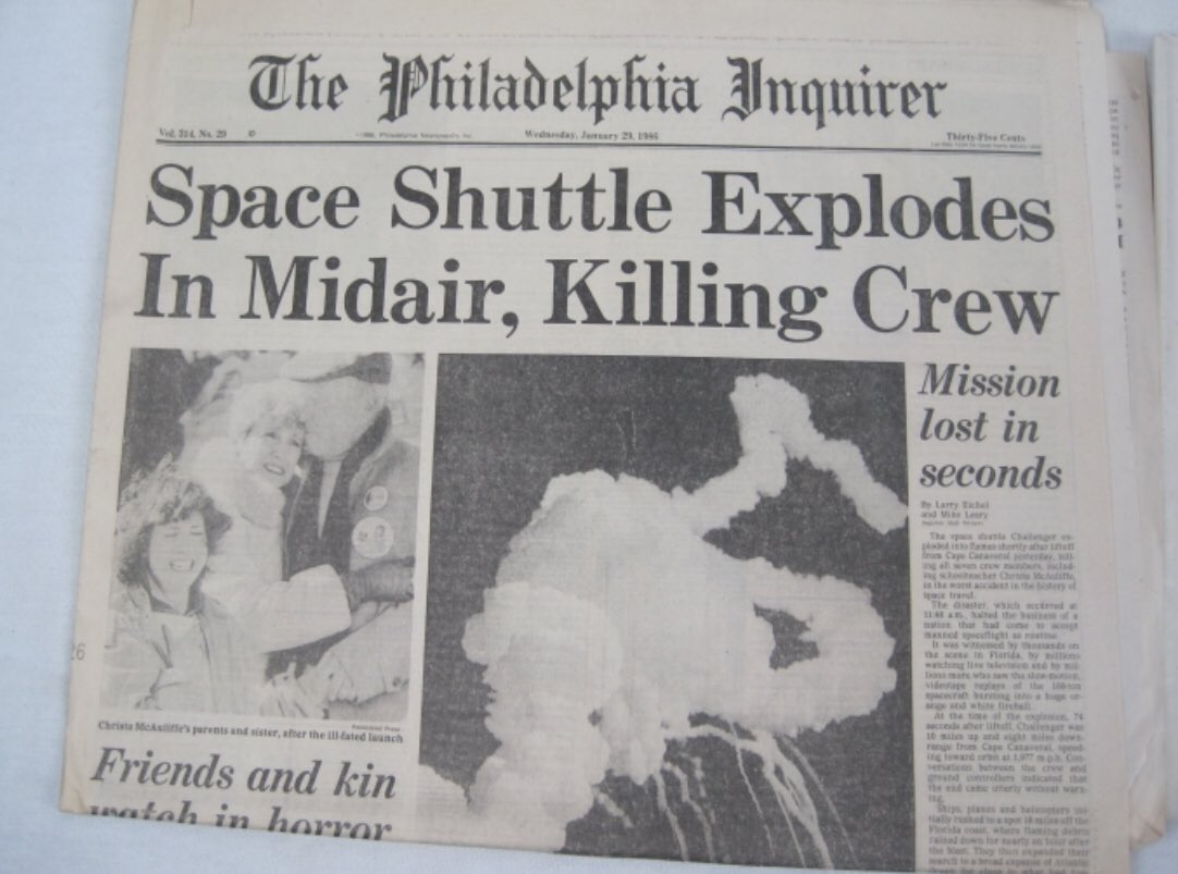 "I recall being in preschool when I heard about what happened ... On this day 35 years ago, in 1986: ""... 'slipped the surly bonds of earth' to 'touch the face of God.' "" The @PhillyInquirer and @PhillyDailyNews #Challenger #NASA"