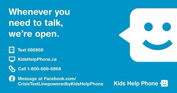 Help is close by with @KidsHelpPhone  Call or text.  #BellLetsTalk