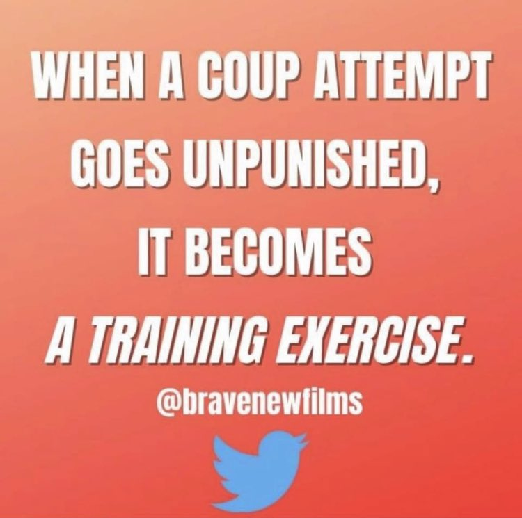 """...""""When a coup attempt goes unpunished, it becomes a training exercise.""""  -Brave New Films  #ThursdayThoughts #ThursdayMorning #Sedition #Congress #Senate #AmericaOrTrump #America #MitchMcConnell https://t.co/QccbkwV309"""