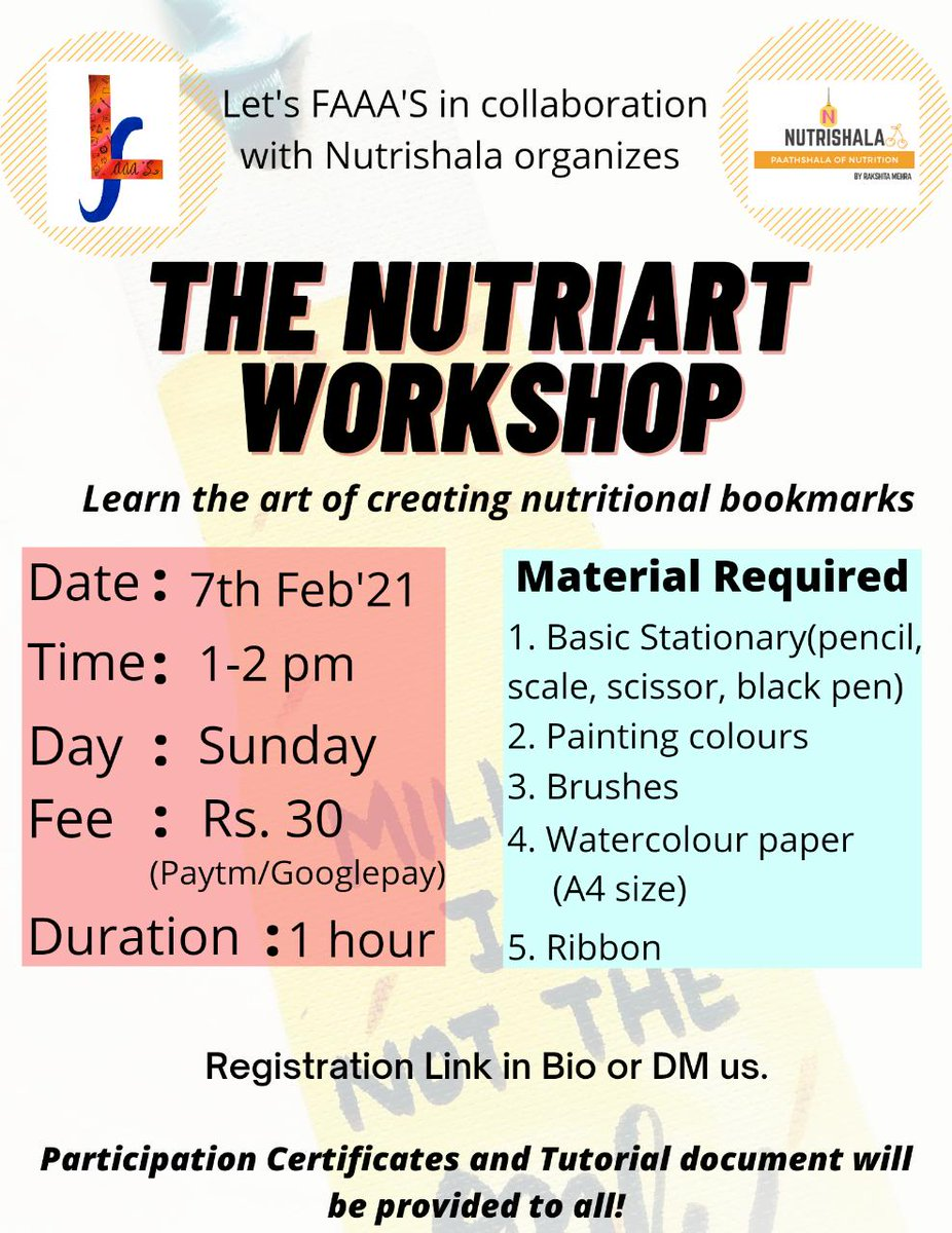 *Platform: Google meet* *Theme: Nutrition myths and facts  *Registration Link*: https://t.co/laDWdqmHBK  Registration open till *5th Feb,2021*  Incase, of any queries regarding material, payment or workshop , DM me  #workshop #nutritionfirst #nutriart #workshopmanual #bookmarks https://t.co/CpuXtvHCTD