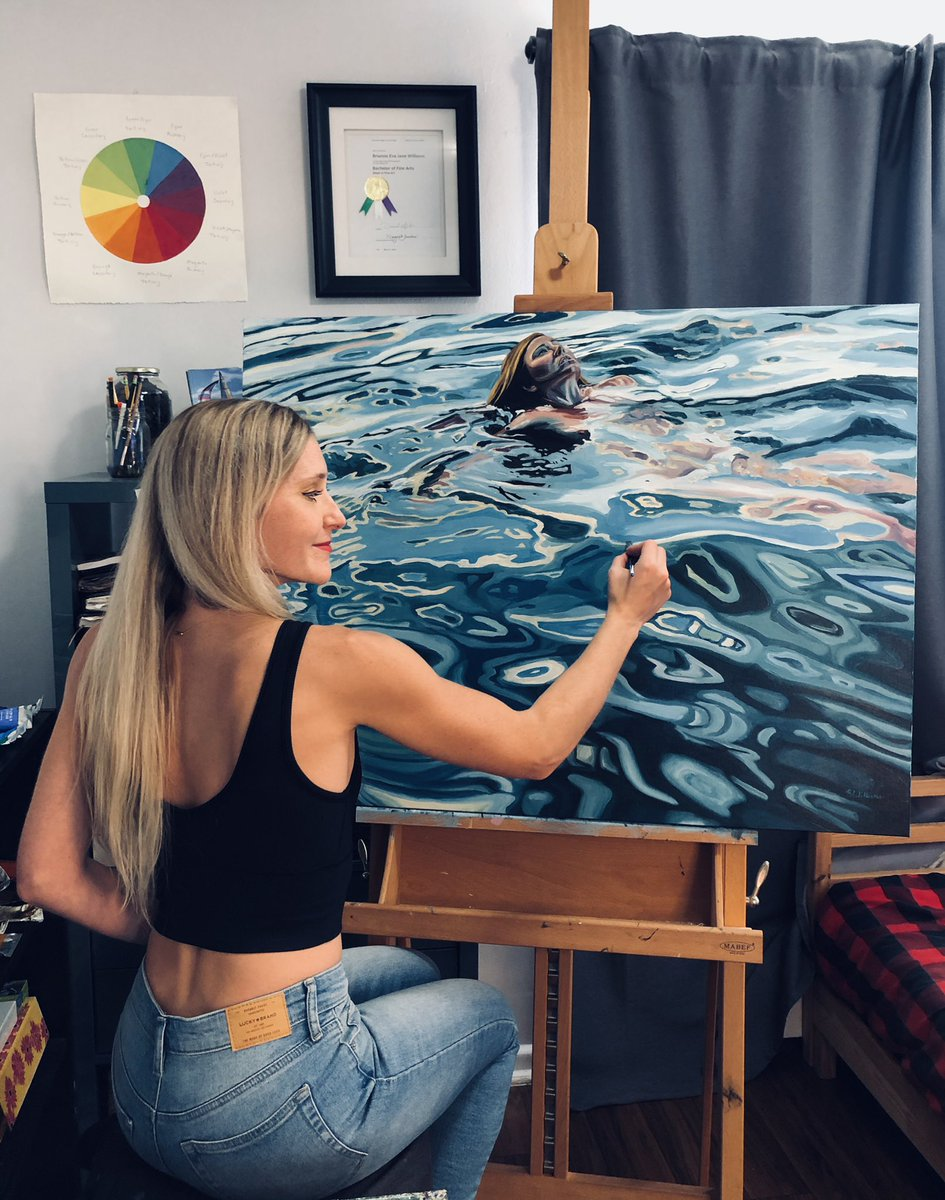 A rare self portrait; a 22 year old version of myself, forever immortalized in this painting is making me feel reflective of time passing. I'm feeling so grateful that I've been able to pursue my dream of being a full time artist! #art #painting #ocean #selfportrait #reflection