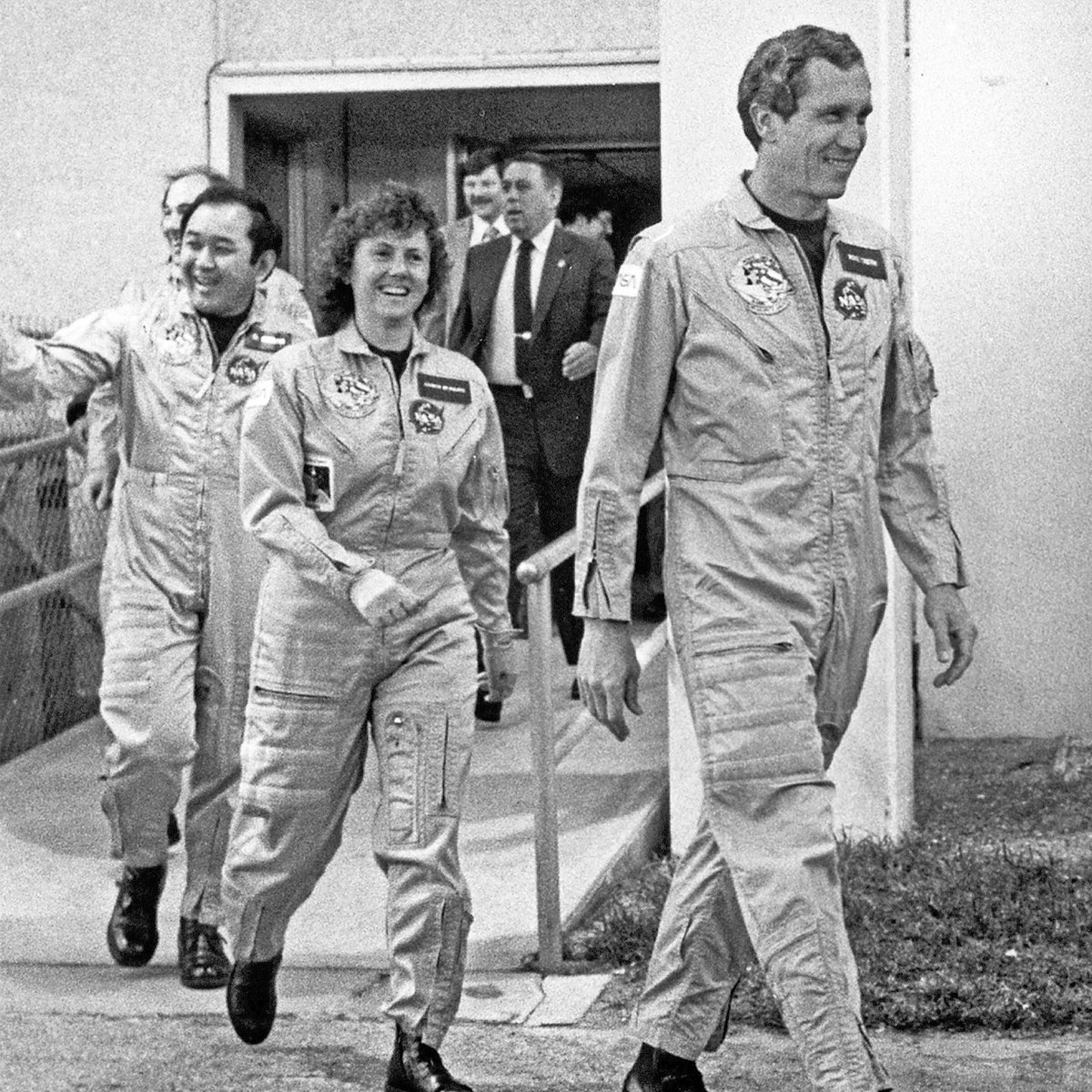 OTD 35 years ago😢#space shuttle 51L #Challenger. I'll #neverforget their smiles and their spring in their step. @NASAKennedy