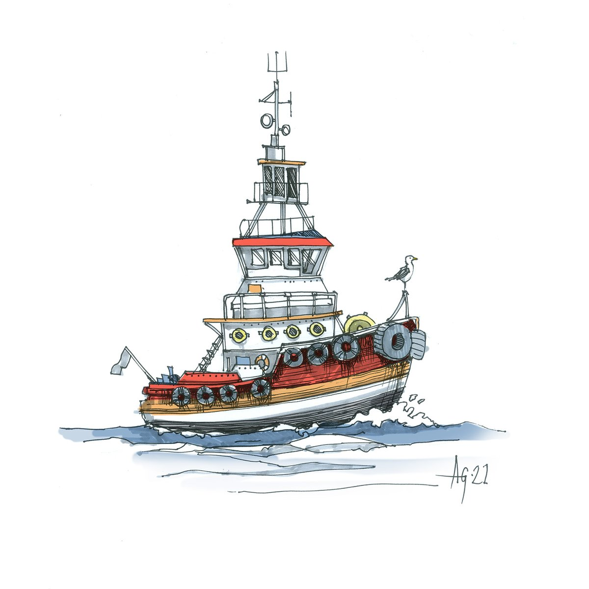 #thedailysketch #sketchjanuary another boat doodle with a bit of colour this time #boat #cartoon #illustration #sketch #sketching #pendrawing #inksketch #thursdayvibes