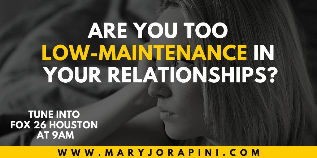 Are you truly low-maintenance? When low-maintenance is rooted in fear of abandonment, it destroys #relationships. Tune into @Fox26Houston this morning at 9am to find out whether your hiding your needier. true self out of fear. ▶️  #thursdaythoughts