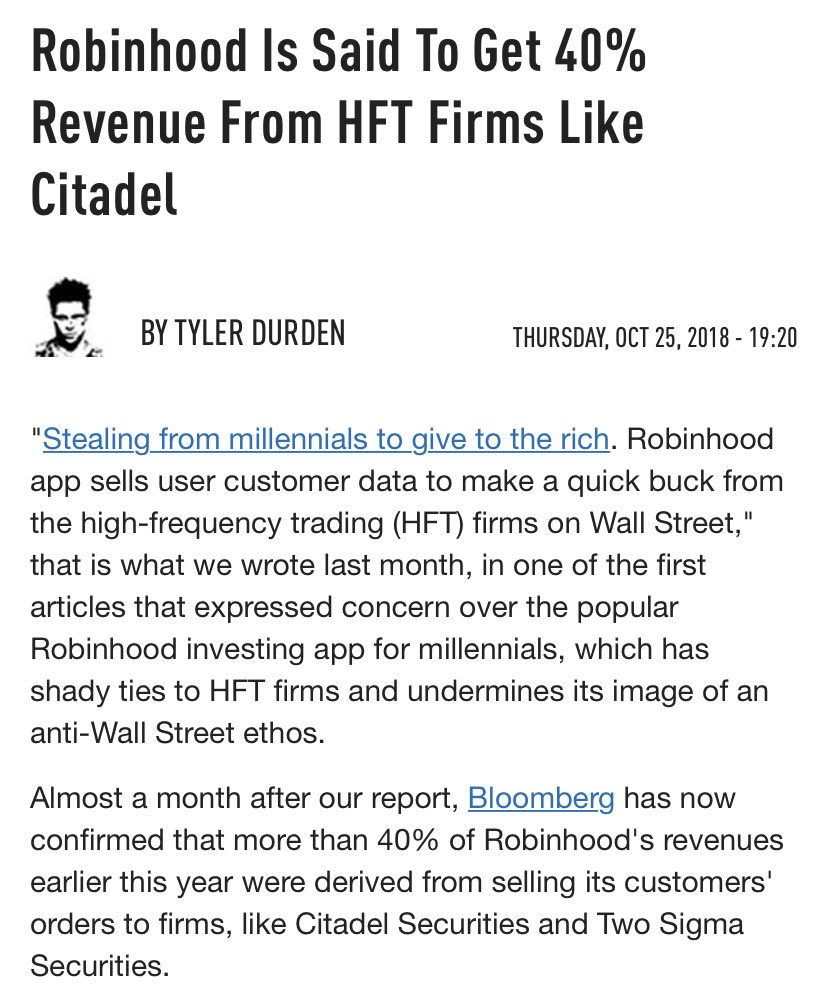 Just to be clear, Citadel, one of the largest clients of RobinHood, bailed out Melvin. Days later, RobinHood shut down purchases of $GME and other volatile names.   Yes, the game is still rigged