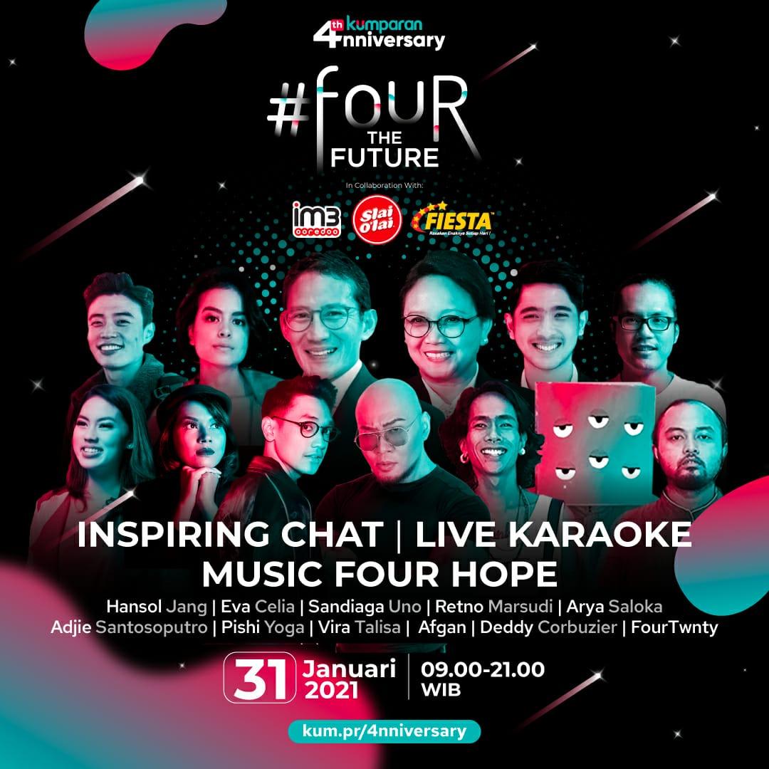 Wah @kumparan punya acara seru menyambut ultah ke-4. Ada Eva Celia, Ibu Retno Marsudi, Afgan, dll. Acara #fourthefuture ini nonstop IG live, 31 Januari 2021. Plus inspiring chat, live karaoke, dan music for hope. Info lengkap di https://t.co/pCui2UkrIJ https://t.co/nywUKkwXAJ