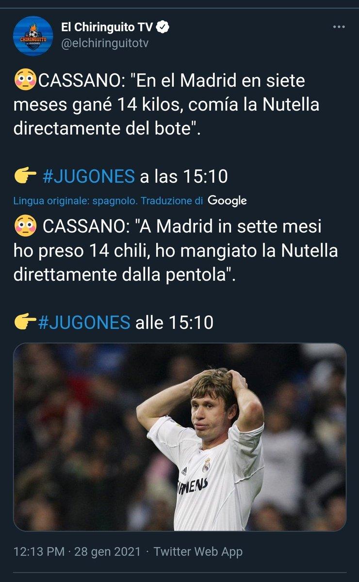 .@leleadani @vieri_bobo @fabiocannavaro A quanto pare la vostra diretta non è passata inosservata anche in Spagna!! 🤣🤣🤣 #Cassano #RealMadrid #Nutella