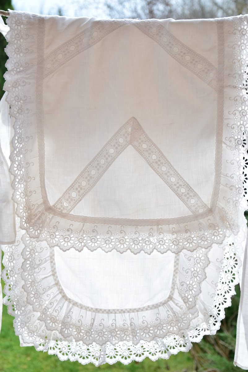 Antique French Swaddling Clothes Linen Ruffle Handmade C. 1910 Baby Swaddle with Handmade Embroidered Madeira      #white #antique #vintage #french #linen #organic #swaddlingblanket #swaddlingclothes #embroidered #rustic #baby #old #richelieu