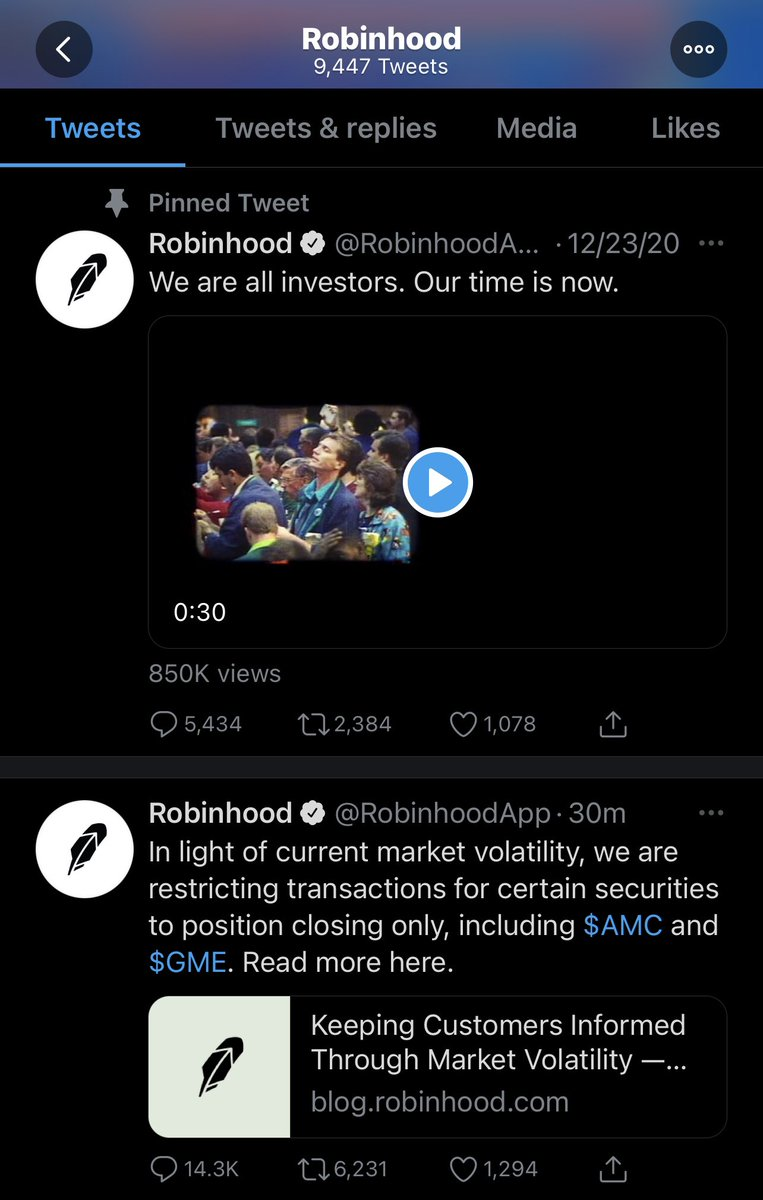"""""""We are all investors, unless you want to invest in things we restrict. Our time is whenever we are told it is"""" In your moment of truth, you showed what you truly are and what customer you care about @Robinhood #yawn #eattherich #RobinHood"""