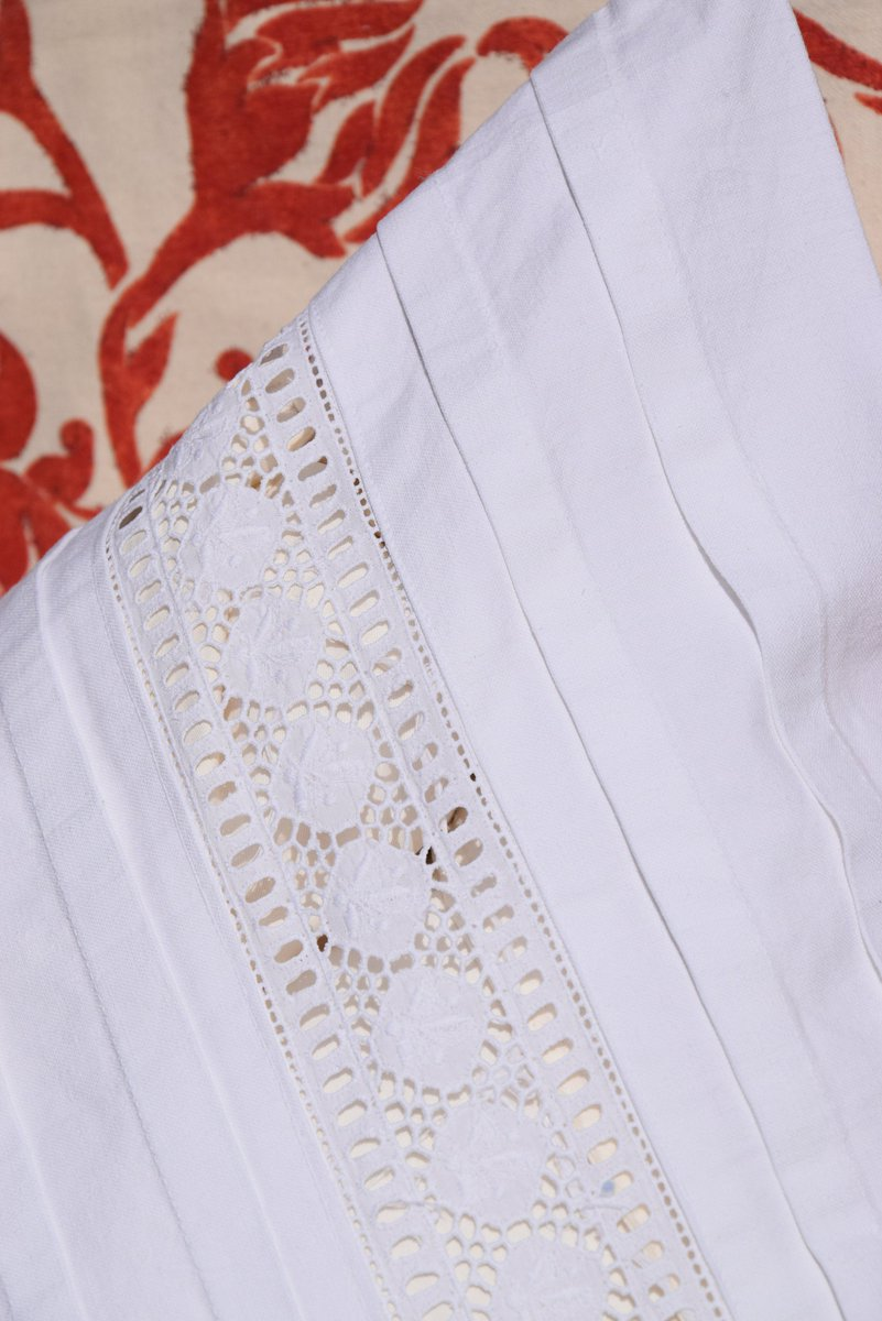 French Pillowcase Antique Pure Linen C 1890 Patterns JG Monogrammed White Bedding Pillow Sham HandMade Embroidery Romantic Dorset Buttons      #rustic #antique #vintage #french #linen #organic #flax #embroidered #lace #ancientpoint #handmade #old
