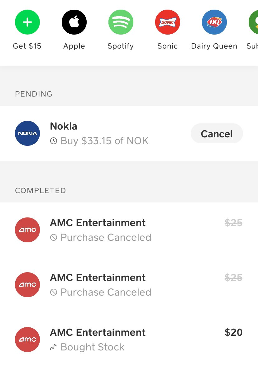 #CashApp is not allowing more purchases of #amcstock and has never processed my #NOK stock