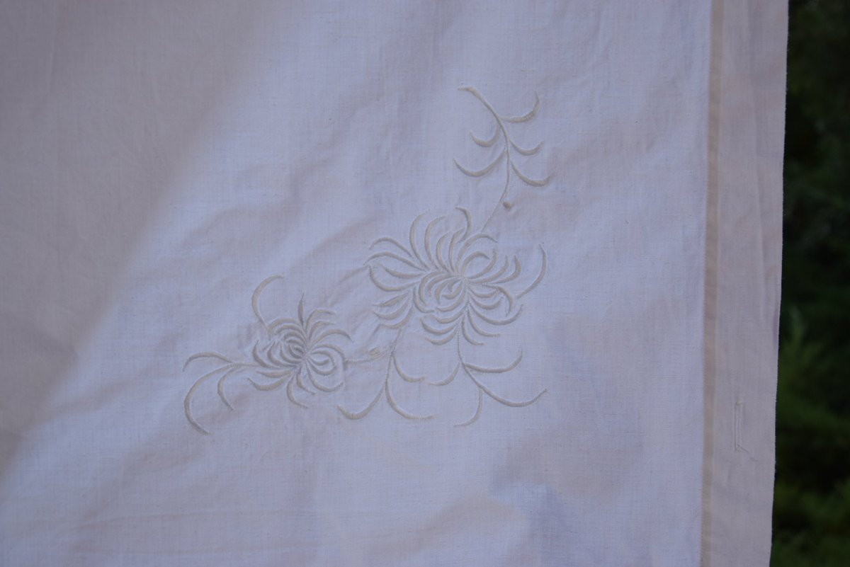 Pair of Linen Sheets Antique Romantic French Material Organic Upholstery Home Decor      #white #linen #antique #vintage #french #homespun #monogram #organic #sheet #handmade #embroidered #rustic