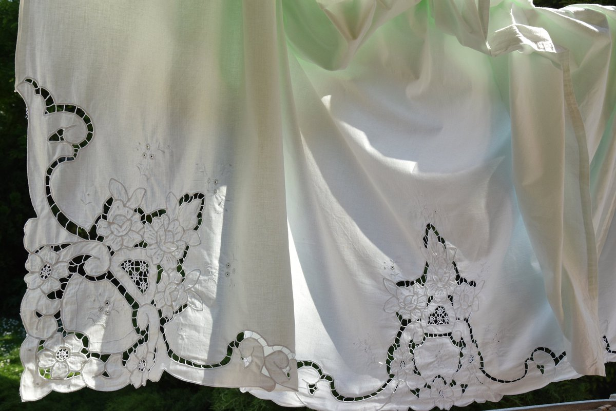 RARE Antique Vintage Pair of Pillowcases and Linen Sheet set 104 x 90 Richelieu Embroidered Bedding Home Decor Romantic Lace Lovely      #green #antique #vintage #french #linen #organic #flax #ruffled #embroidered #handmade #richelieu #sheet #old