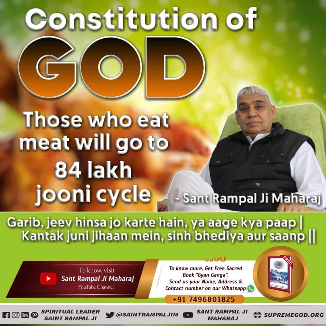 CONSTITUTION OF  GOD  If a person does not do bhakti in human life, then after death he/sh obtains the lives of animals, birds etc. -Saint Rampal Ji Maharaj For More Information Visit Satlok Ashram YouTube Channel #thursdaymorning  #GodMorningThursday