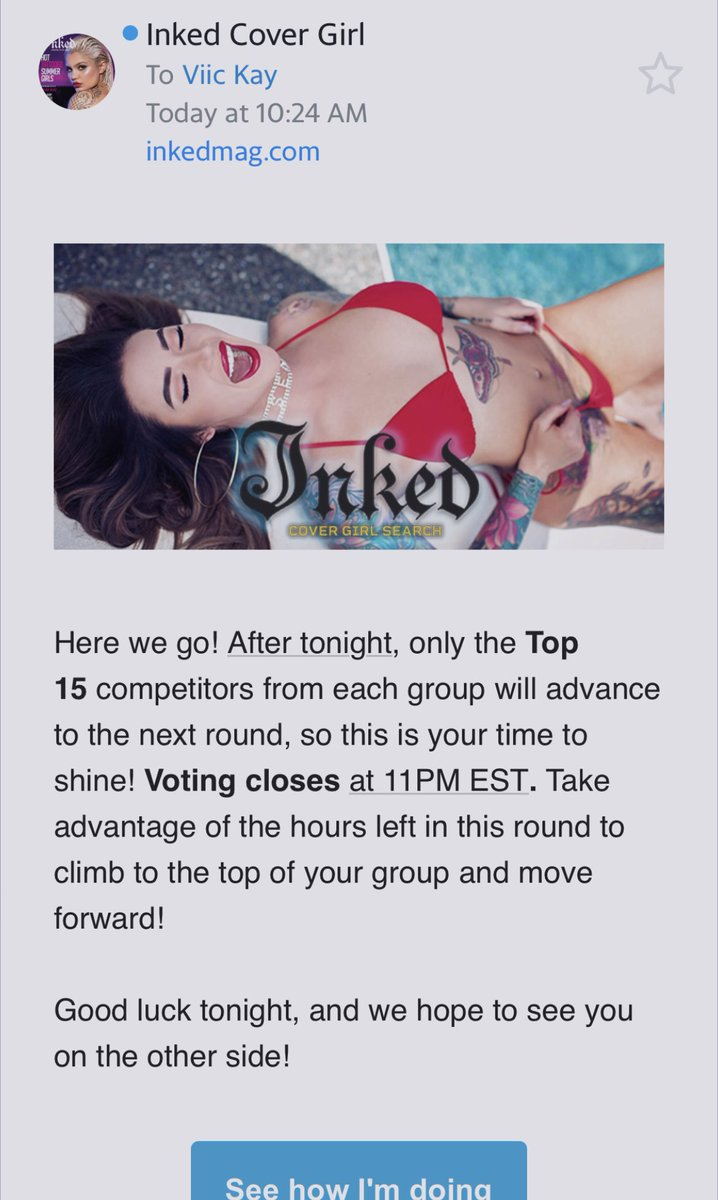Click the link in my bio to help me out 🙏 every vote counts! @Inkedmag #thursdaymorning #InkedMagCoverGirl