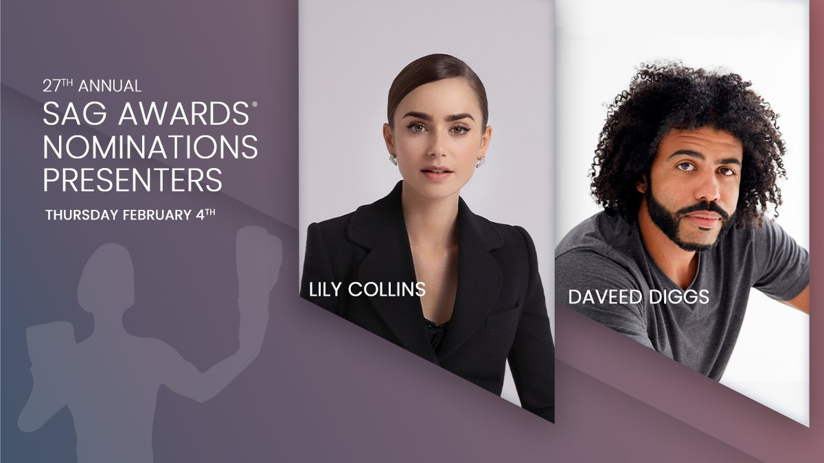Thomas Jefferson's back from Paris, and he's bringing Emily! ✨  Join the INCREDIBLE @lilycollins and @DaveedDiggs as they announce the 27th SAG Awards nominees on Thursday, February 4th at 11am ET/8am PT!