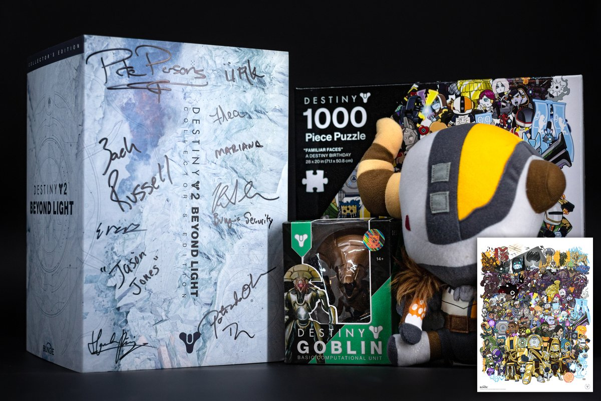 🎊 The Final Guardian Giveaway is upon us 🎊  Follow @bungiestore and quote retweet this post including #GuardianGiveaways by 1/30 at 8:59am PT for a last chance to win an exclusive merch bundle with a signed Beyond Light Collectors Edition.