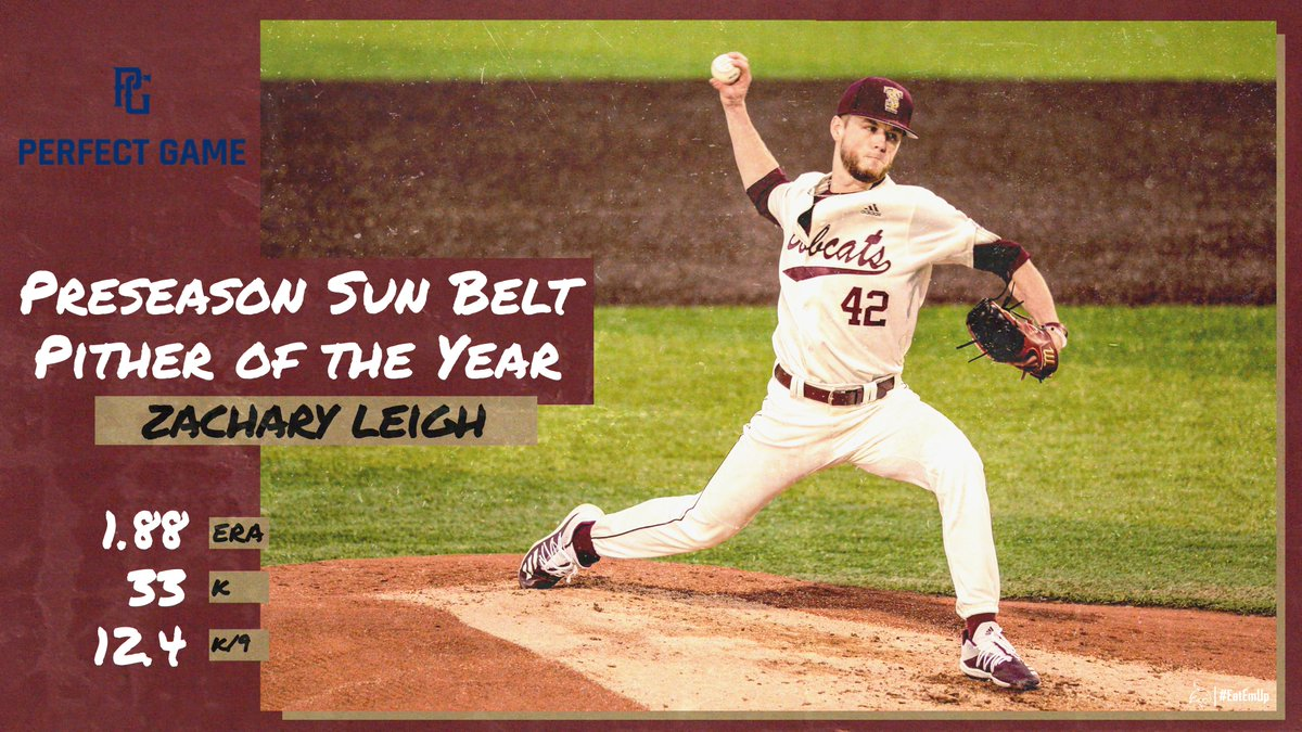 Had 2 Preseason All-#SunBelt selections by @PerfectGameUSA. @wesley_faison was picked at 1B & @ZacLeigh6 was selected at SP and as the Pitcher of the Year! #EatEmUp #ComebackStrong
