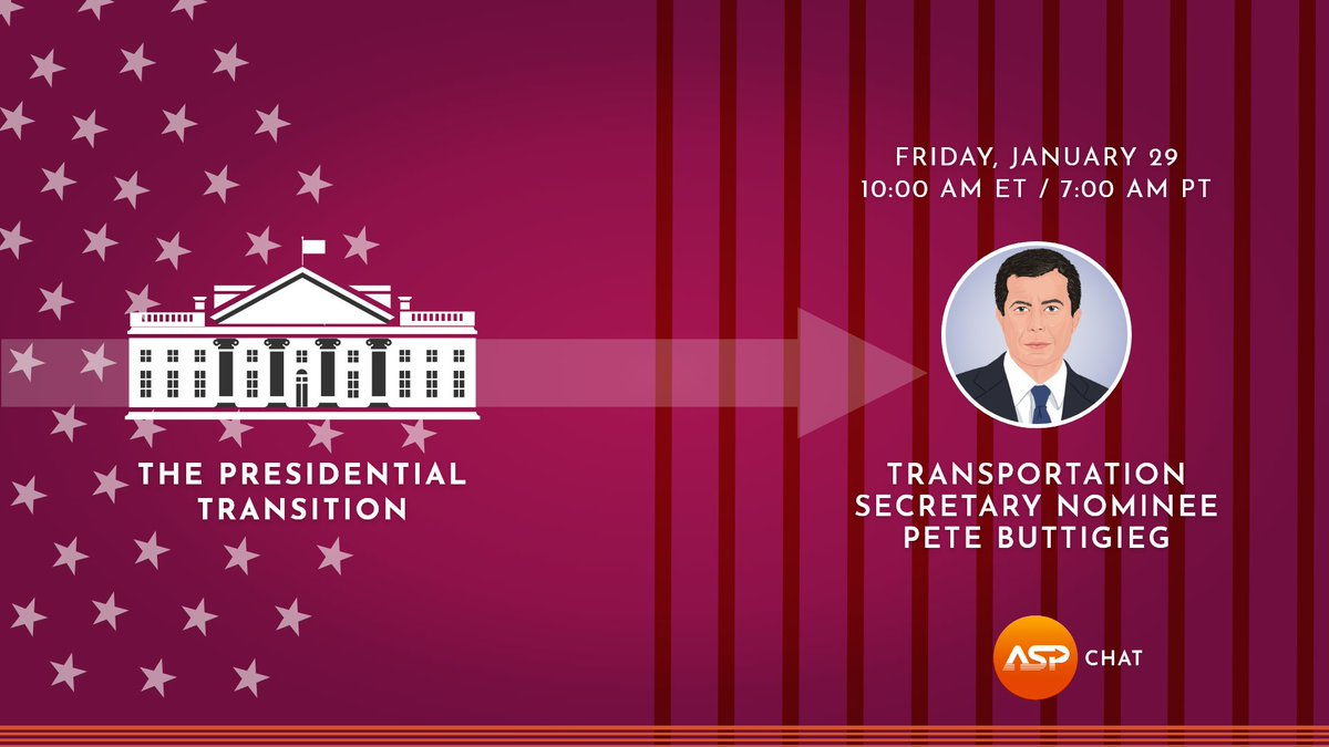 Announcing an upcoming ASP Chat with @ChrisEvans & @MarkKassen on the presidential transition: tomorrow, join former Mayor of South Bend, @PeteButtigieg as he discusses his nomination as Transportation Secretary, his main goals for the Department of Transportation, COVID & more. https://t.co/SGflokFjPK