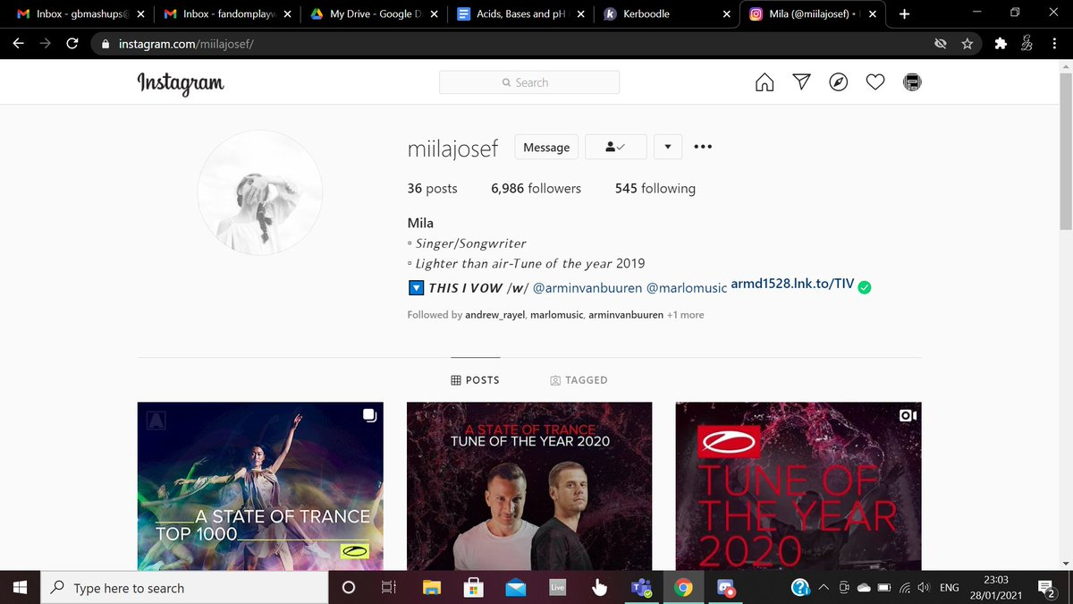 I log onto my Instagram account and find that Mila Josef has started following me  I don't think I've ever screamed that much before in my life...  #TranceFamily #Trance #ASOT #arminvanbuuren #marlo #ASOTTop1000 #ASOT1000 #ThisIVow