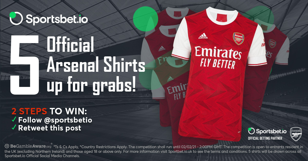 🚨  is giving away 5️⃣ official@arsenalshirts! 👕  🤔 How to win? 🤝 Follow@sportsbetio 🔁 RT this post  ⚠️ 5 separate winners will be announced by Feb 2, 17:00 GMT  🔐 T&C Apply