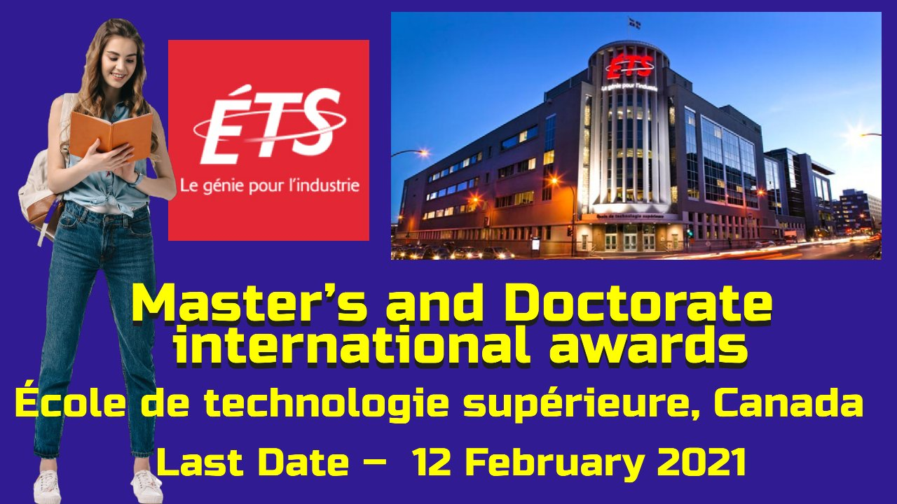 Master's and Doctorate international awards at ETS, Canada