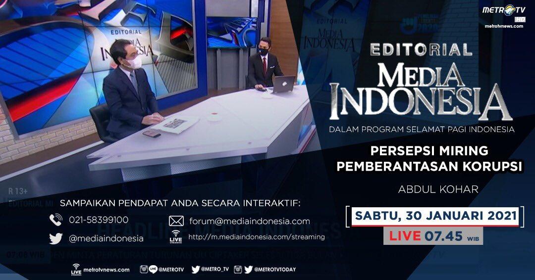 #EditorialMediaIndonesia hari Sabtu (30/1) LIVE pukul 07.45 WIB dalam program #SPIMetroTV akan membahas soal penurunan indeks korupsi akibat penolakan UU KPK dan diskon hukuman koruptor, bersama pembedah Abdul Kohar. @mediaindonesia
