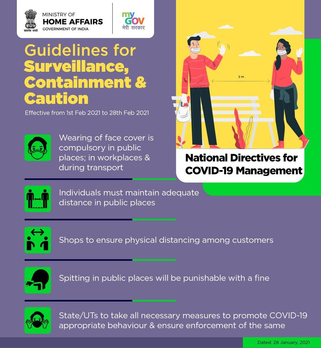 Ministry of Home Affairs has issued a fresh set of COVID-19 guidelines for surveillance, containment & caution that will be effective from 1st Feb 2021 till 28th Feb 2021. Take a look at the National Directives for COVID-19 Management. #IndiaFightsCorona
