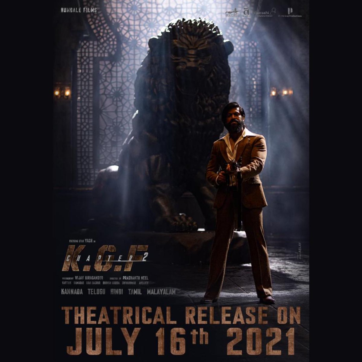 #KGFChapter2 Worldwide Theatrical Release On July 16th, 2021.  #KGFChapter2onJuly16  @TheNameIsYash @prashanth_neel @VKiragandur @hombalefilms @excelmovies @duttsanjay @TandonRaveena @SrinidhiShetty7 @prakashraaj @BasrurRavi @bhuvangowda84