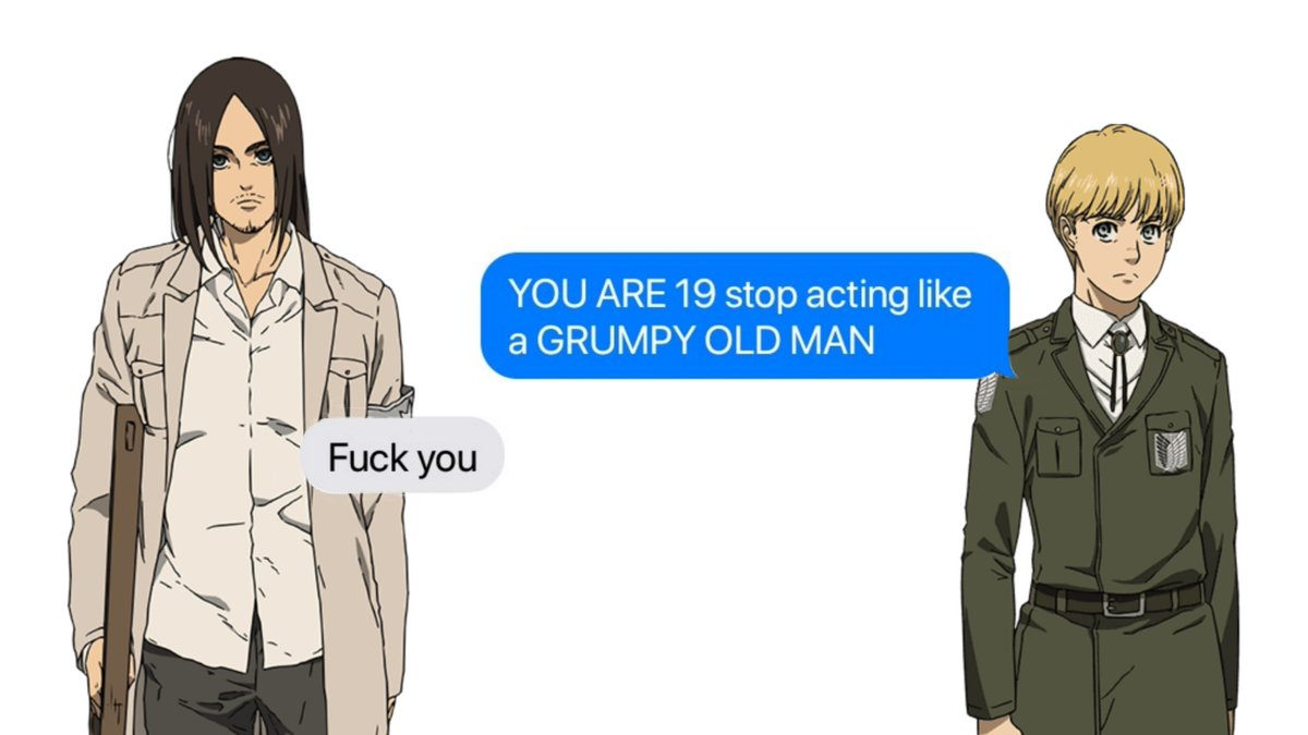 Replying to @callenreesse: Attack on Titan characters as text chats : A thread.
