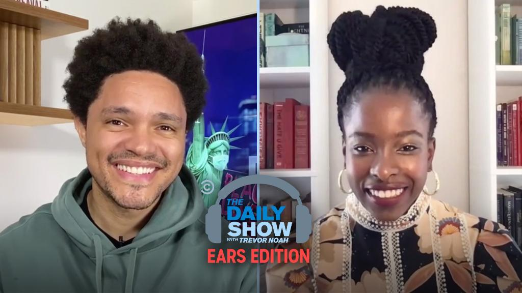 """.@TheAmandaGorman joins @Trevornoah to talk about her historic inaugural poem """"The Hill We Climb."""" Listen to @thedailyshow:"""