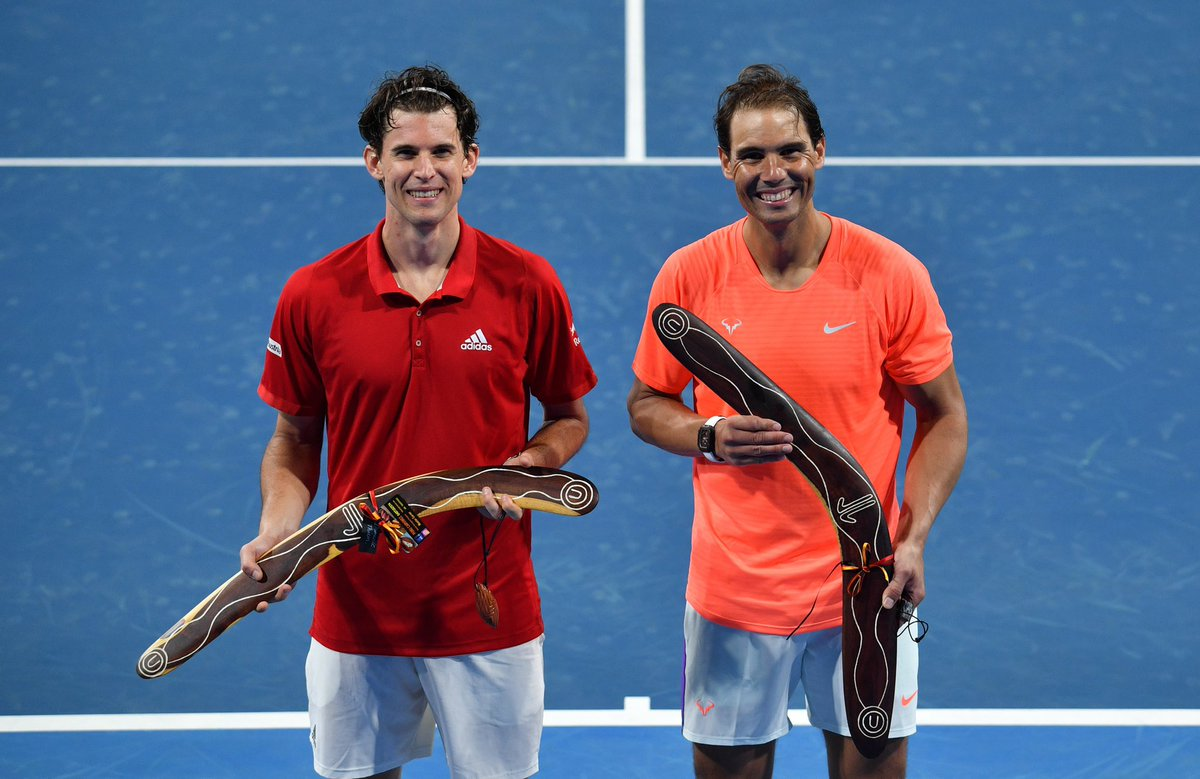 I guess you can see that @rafaelnadal and I are more than happy to be back on court! Playing in front of a crowd was special today. Looking forward to the next couple of weeks. Thank you Adelaide #AusOpen