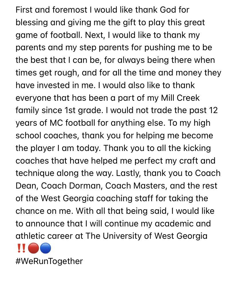 Replying to @BrockPellegrin1: COMMITTED 🐺🔵🔴 #WeRunTogether @MCFootballCoach @CoachD_Dean @CoachJRDorman @UWGFootball