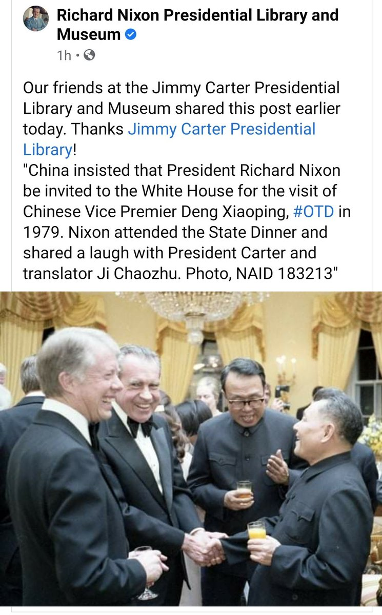 Jimmy Carter Presidential Library On Twitter China Insisted That President Richard Nixon Be Invited To The White House For The Visit Of Chinese Vice Premier Deng Xiaoping Otd In 1979 Nixon Attended