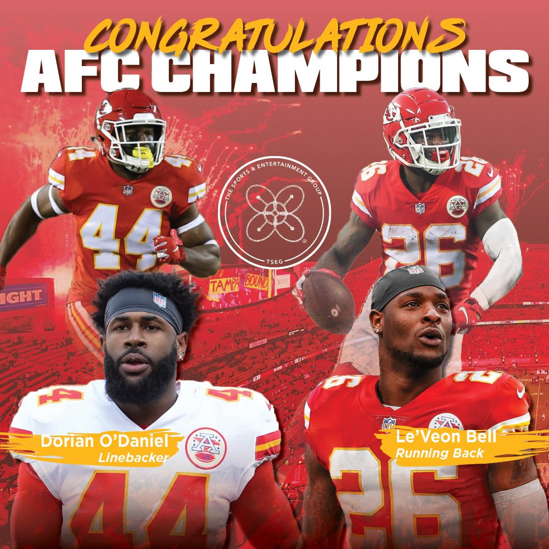 Congratulations to Kansas City Chiefs clients @Dorian and @LeVeonBell on their AFC Championship win! Next up, Super Bowl LV 👏🏾💪🏾 #superbowl #superbowllv #kansascitychiefs #Chiefs #ChiefsKingdom #RedFriday #afcchamps #backtoback #dorianodaniel #leveonbell #nfltop100 #NFL #TSEG