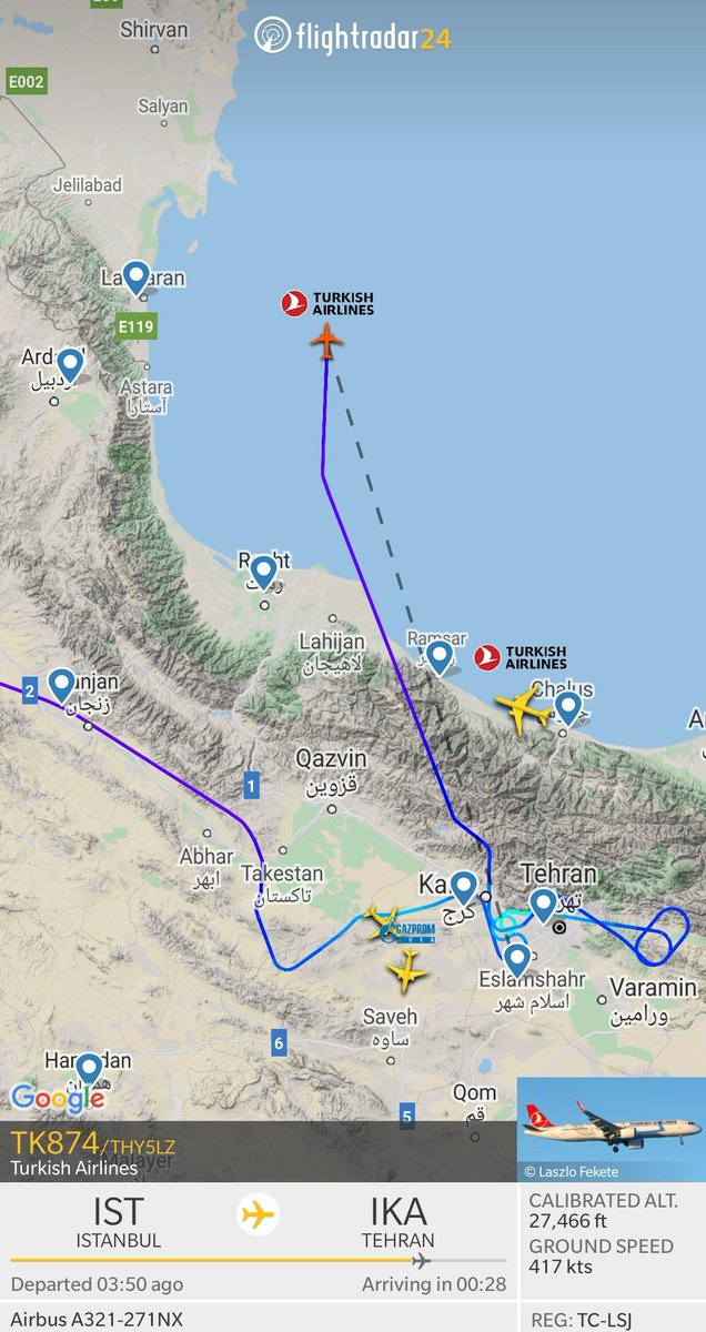 Flightradar24 On Twitter Turkish Airlines Flight Tk874 From Istanbul To Tehran Is Diverting To Baku Reason Is Currently Unknown Https T Co Vzrbdgufab Https T Co Ul72ecftf5