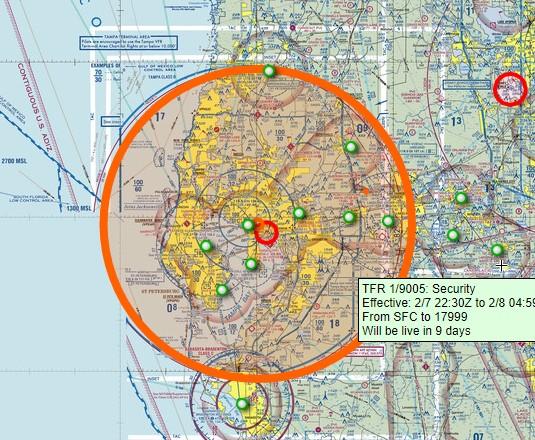 2月7日から8日にかけてフロリダ州タンパにセキュリティーの飛行制限が出た。大統領の場合はVIPだから異なるが、飛行制限の高さと幅は大統領級。大統領ではないが大統領級??