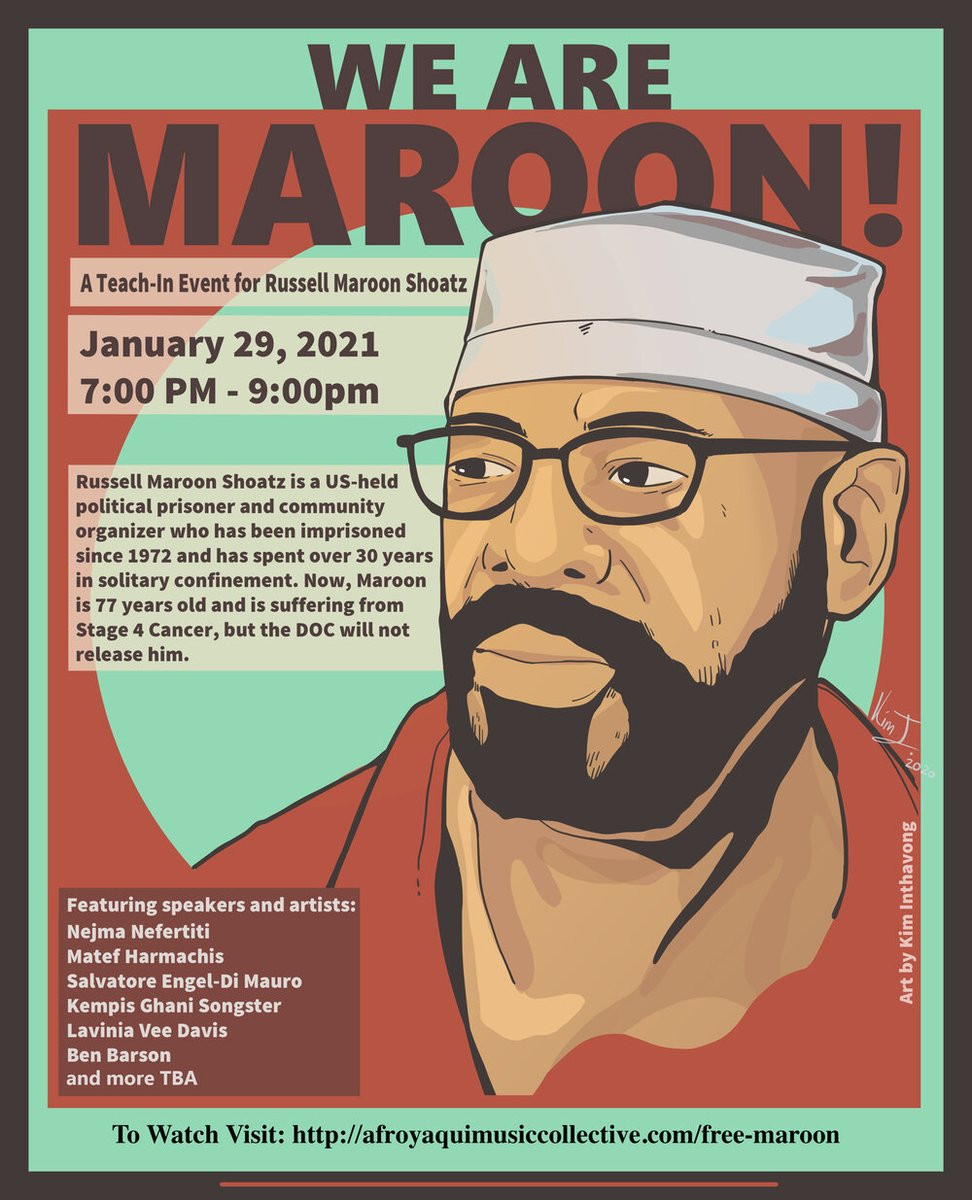 HAPPENING NOW! We Are Maroon: A Teach-In for Russell Maroon Shoatz! Maroons move on Morrison Code: the function offreedomis to free someone else. It is our duty to free our freedom fighters. It is our duty to win. Join us! afroyaquimusiccollective.com/free-maroon #WeAreMaroon #FreeEmAll