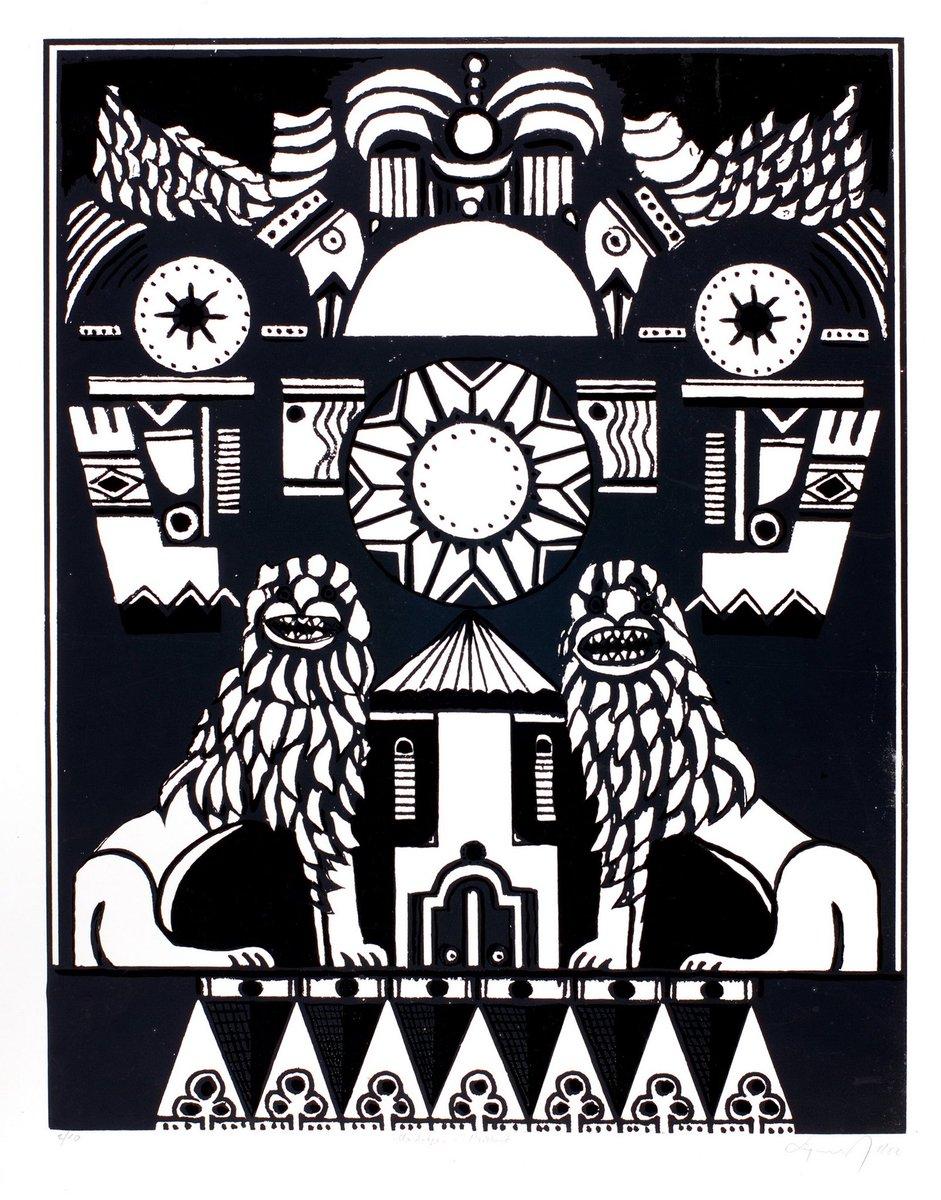 Nga koleksioni i Galerisë Kombëtare të Kosovës   Engjëll Berisha Medalioni i Prizrenit III, 1979 Seriografi   #galeriakombetareekosoves #galeriamkrs #EngjellBerisha #serigraphy #archive #etching #galleryart #artoftheday #art