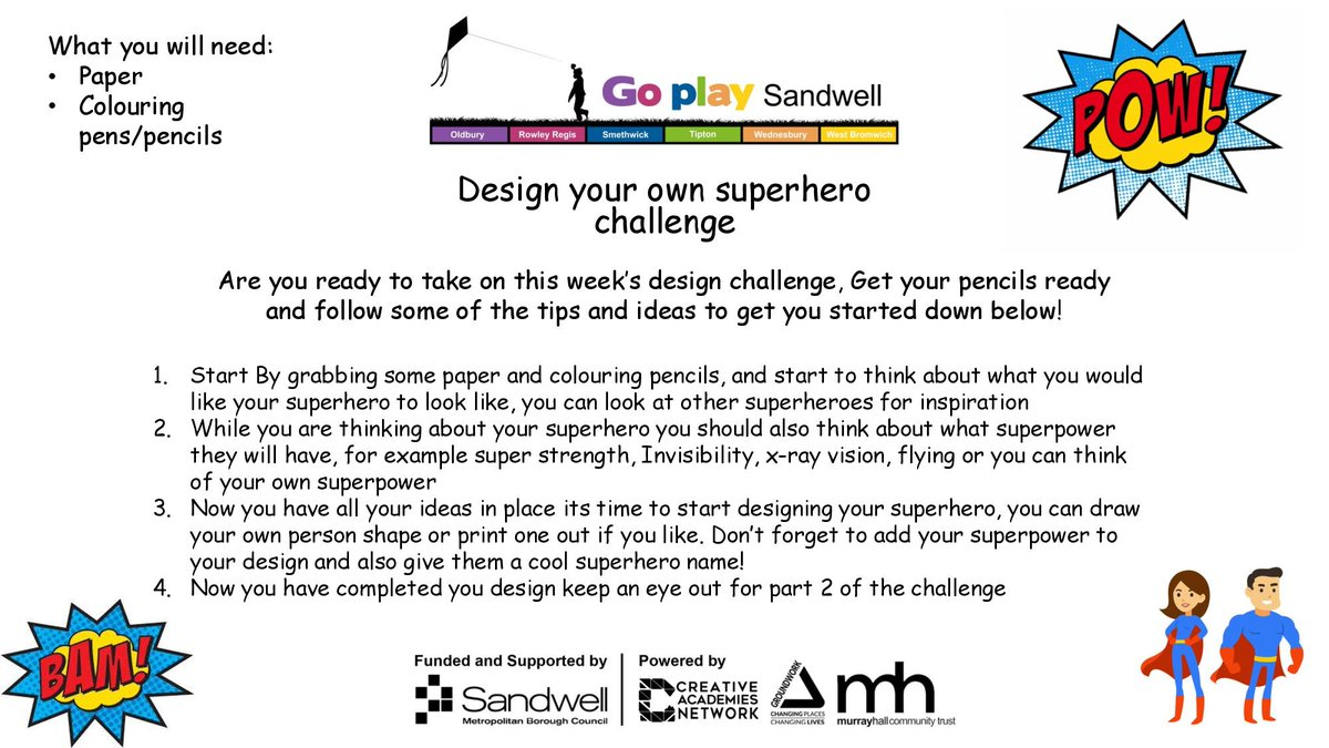 Join us for this week's super challenge. For part 1 of this challenge we are going to get our thinking caps on and design your own superhero!  #gpschallenge  #goplaysandwell  #activitiesforkids  #playathome