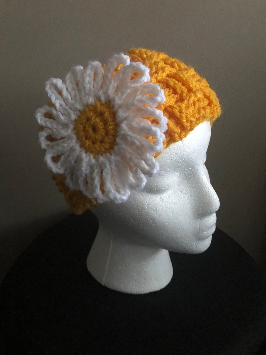 Excited to share this from my #etsy shop: Crocheted Daisy Headband, Boho Headband with Flower, Ear Warmer with Flower, Winter Headband, Ski Headband, Gift for Her,  #yellow #white #bohohippie #crochetheadband