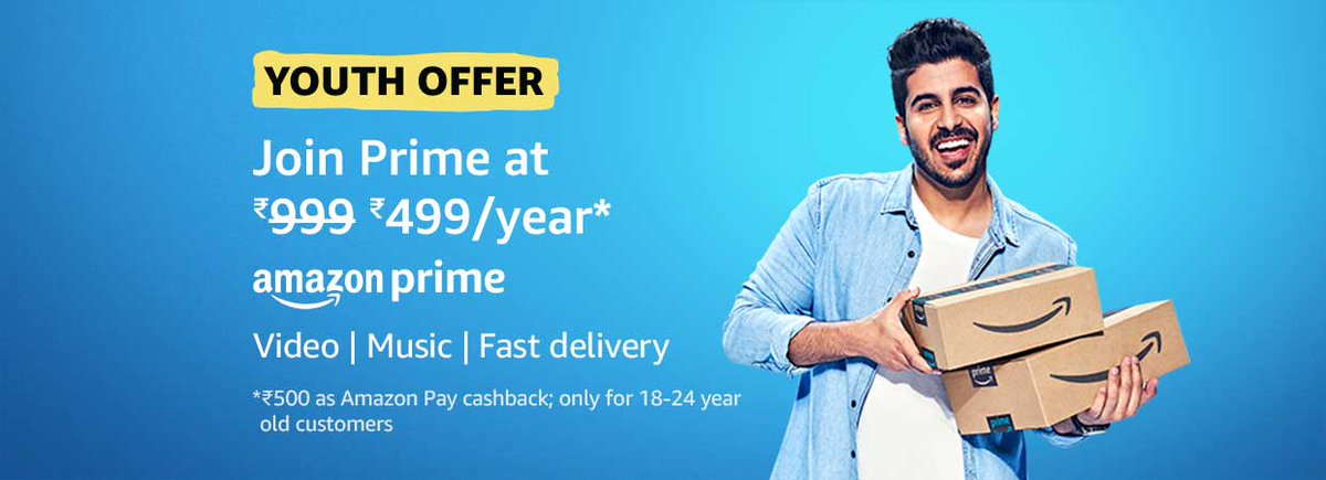 ☀️Amazon Youth Offer   Join Prime Membership & Get Rs.500 Cashback   For 18-24 year old customers only  Open This Link In Amazon App & Join :   Join Prime from here :    Youth Offer Prime members :