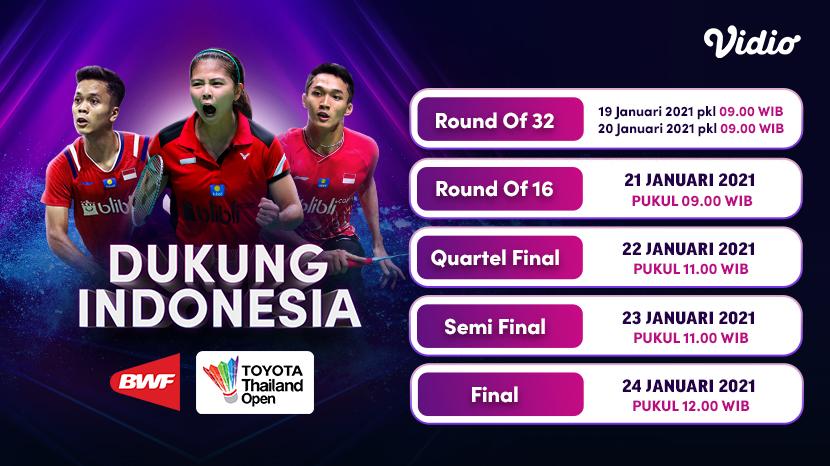 Rangkaian kompetisi #BWF masih berlanjut di #ToyotaThailandOpen.  👉 https://t.co/XHaKtWnLl5.  Yuk kita dukung Indonesia dan saksikan pertandingan mereka mulai 19 Januari 2021 di Vidio. Jangan lupa untuk berlangganan Premier sekarang.  #SemuaAdaDiVidio #VidioSports https://t.co/QNbBFwPNQE