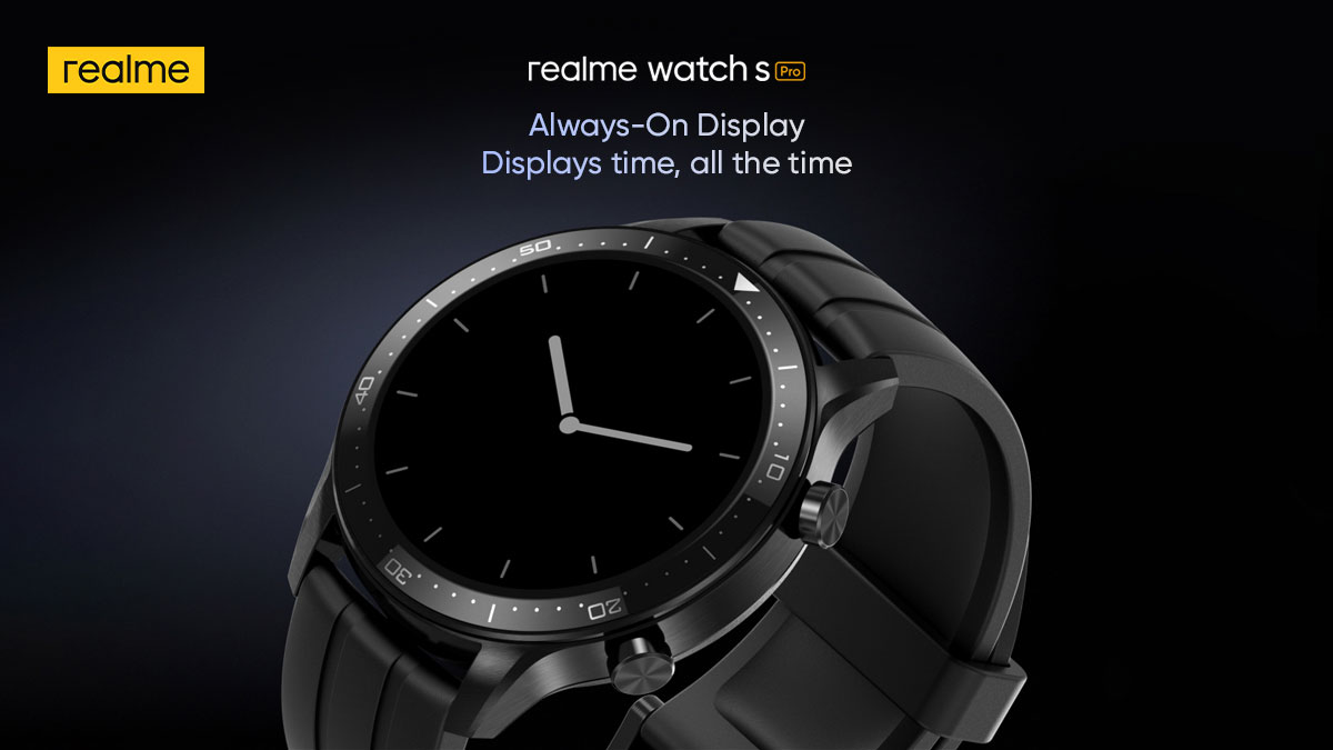 A glance is all the #realmeWatchSPro needs! Thanks to Always-On Display.