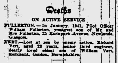 Glasgow Herald Saturday 18th January 1941. On Active Service: Missing, PoWs, Repatriated, Deaths. #CWGC #WW2 #LestWeForget #ThisDayInHistory #WeRemember