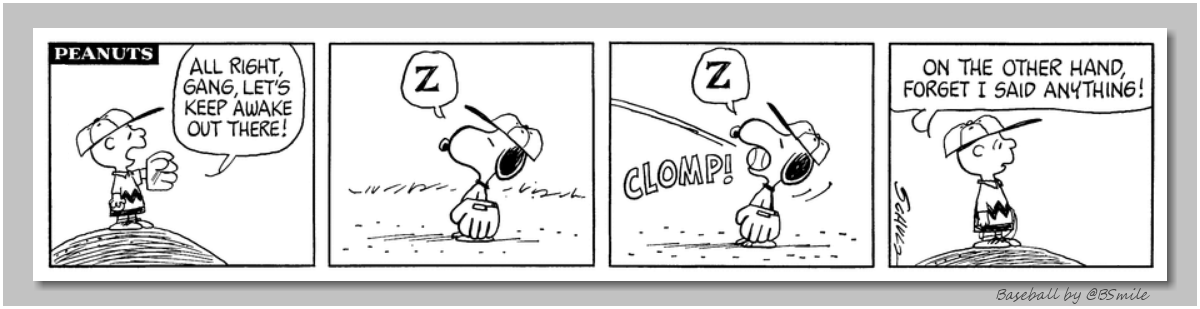 All right gang, lets keep awake out there! --- CLOMP! --- On the other hand, forget I said anything! ~ Charlie Brown (Classic Peanuts - 1972) #MLB #Baseball #Snoopy