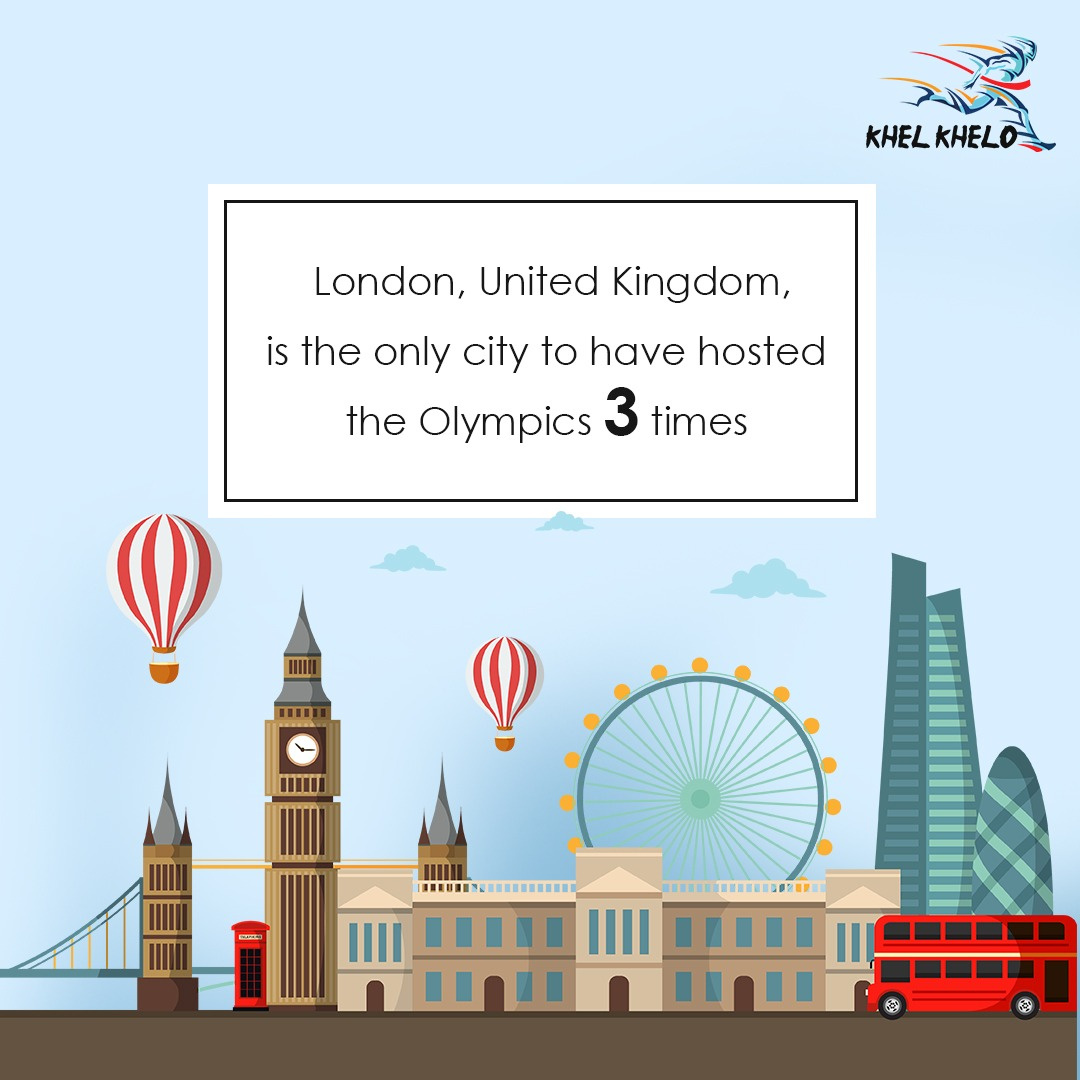 London, United Kingdom, is the only city to have hosted the Olympics 3 times. The first time was in 1908, the second in 1948, and the third was in 2012.  #Khelkhelo #Dare2Care #Play4Free #olympicgames #facts #Sports #indiansports