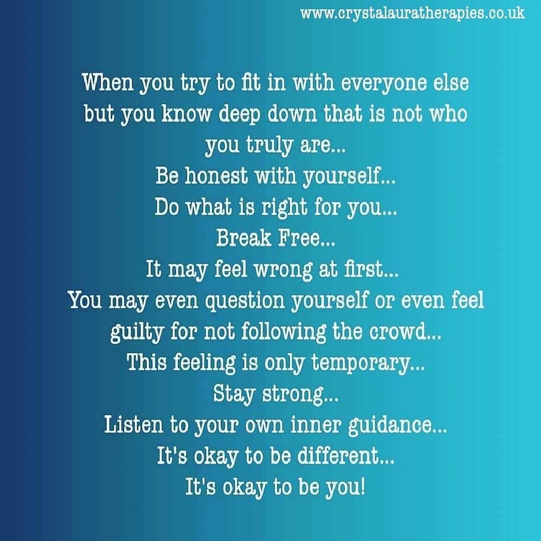 When you try to fit in with everyone else but you know deep down that is not who you truly are. Be honest with yourself. Do what is right for you. Break free!  #life #Mindfulness #lifestyle #mondaythoughts #NEW #Believe #beyou #Happiness #REALITY #selfcare #Wellbeing