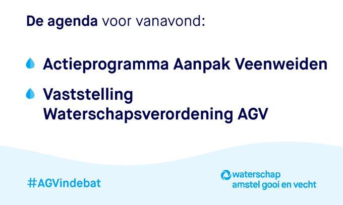 Kijk vanavond om 20:00 uur online mee naar de digitale vergadering van @waterschapsagv  |  #AGVindebat    📽️👉 https://t.co/LEeQONIbgY  Over onder andere 👇